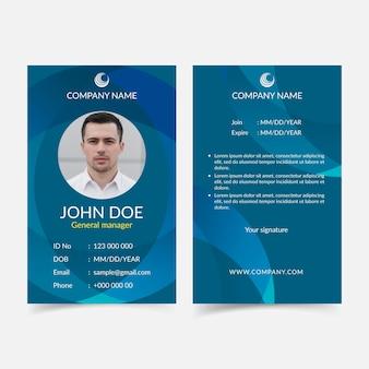 Cartão de identificação azul abstrato com foto