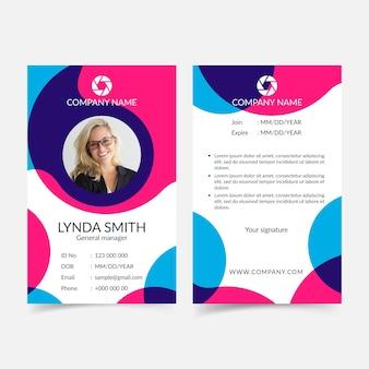 Cartão de identificação colorido abstrato com foto