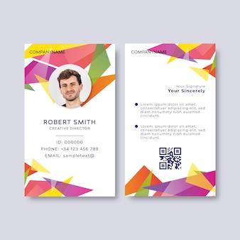 Cartão de identificação colorido com espaço reservado para foto