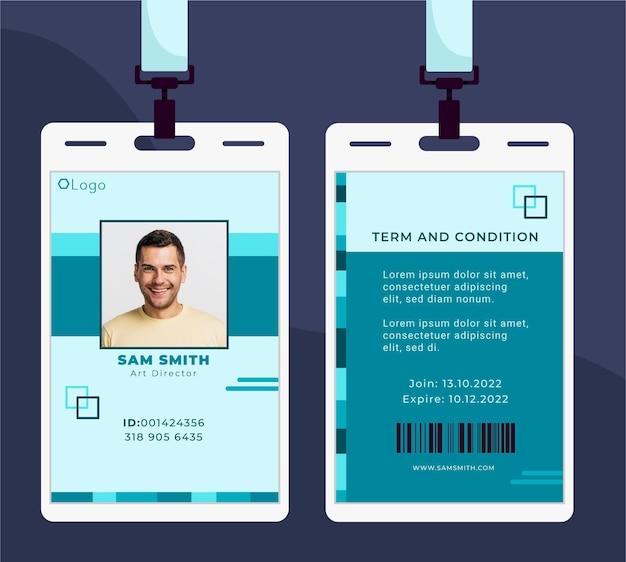 Cartão de identificação com design minimalista