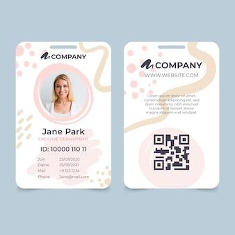 Cartão de identificação com espaço reservado para foto