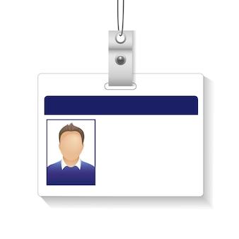 Cartão de identificação com foto homem isolado fundo branco