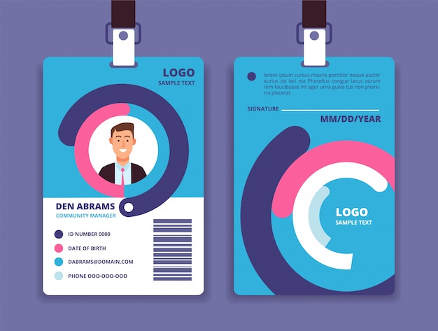 Cartão de identificação corporativo crachá de identidade profissional empregado com modelo de design de avatar de homem