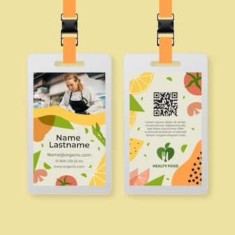 Cartão de identificação de alimentos bio e saudáveis com foto