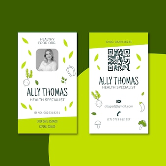Cartão de identificação de alimentos biológicos e saudáveis