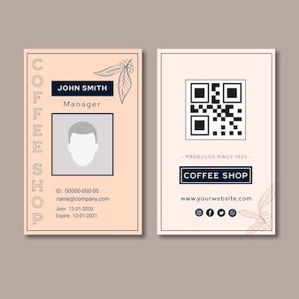 Cartão de identificação de café de qualidade premium