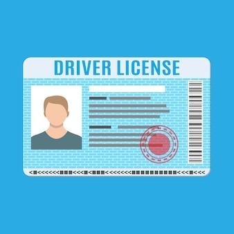 Cartão de identificação de carteira de motorista de carro com foto.