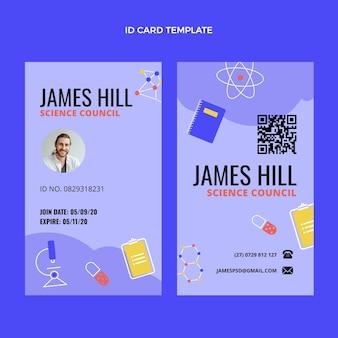 Cartão de identificação de ciência de design plano
