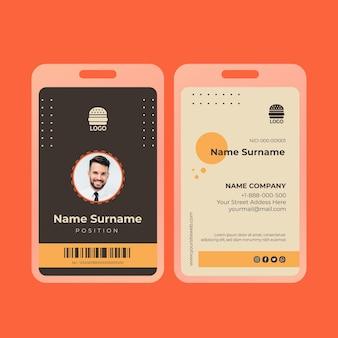 Cartão de identificação de comida americana