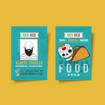 Cartão de identificação de comida mexicana