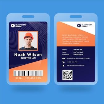 Cartão de identificação de eletricista