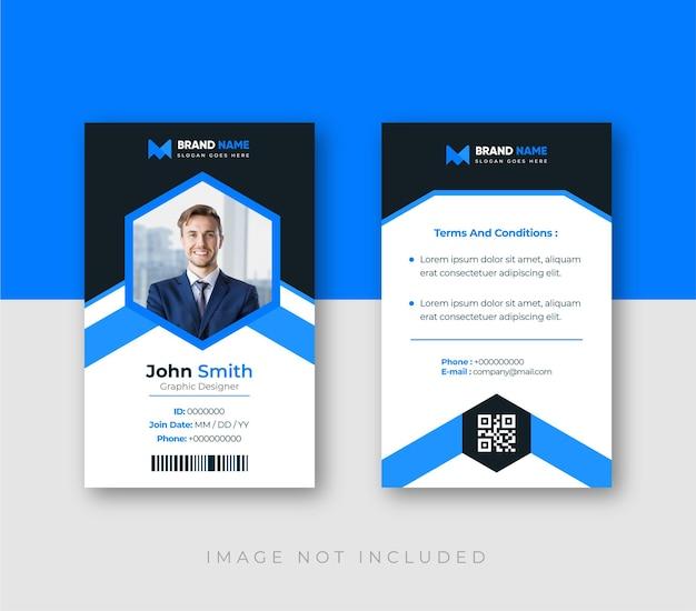 Cartão de identificação de escritório com modelo de elementos minimalistas
