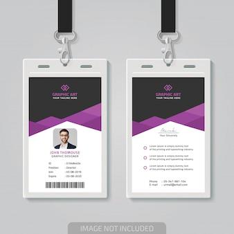 Cartão de identificação de escritório simples themplate