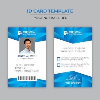 Cartão de identificação de gradiente azul moderno
