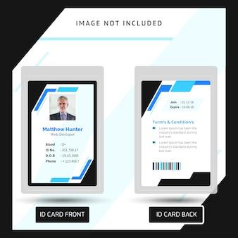 Cartão de identificação de identificação azul e preto