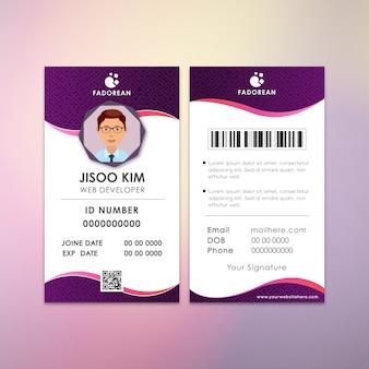 Cartão de identificação de peça criativa do desenvolvedor da web kim