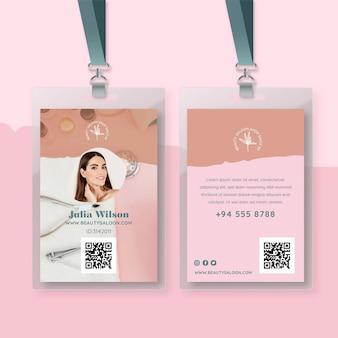 Cartão de identificação de salão de beleza e saúde