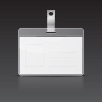 Cartão de identificação de vetor com reflexo no fundo preto