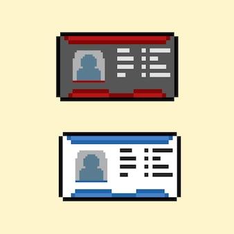 Cartão de identificação definido com estilo pixel art