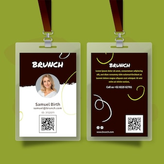 Cartão de identificação do brunch