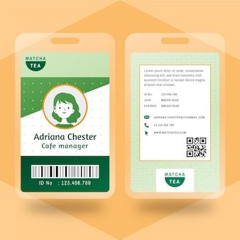 Cartão de identificação do chá matcha