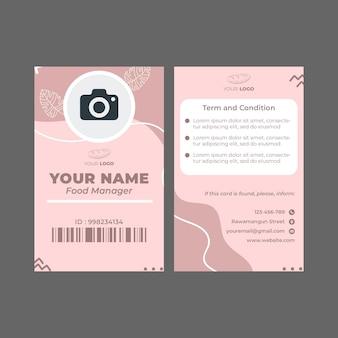 Cartão de identificação do modelo de anúncio de padaria