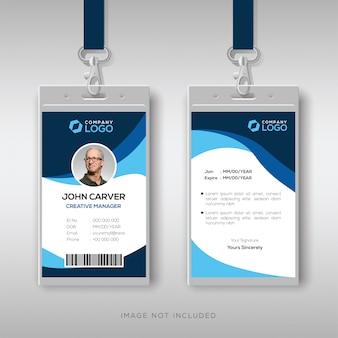Cartão de identificação elegante com detalhes azuis