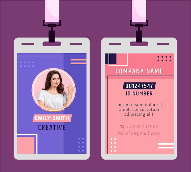 Cartão de identificação em estilo minimalista