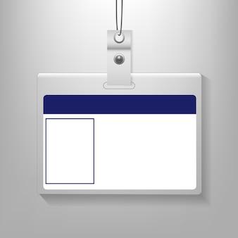 Cartão de identificação isolado fundo cinza