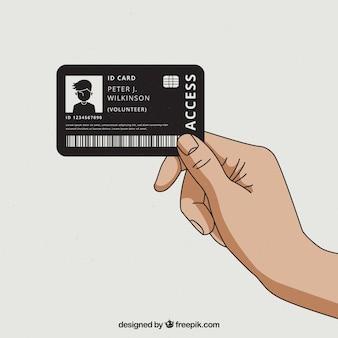 Cartão de identificação moderna mão desenhada