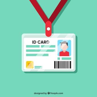 Cartão de identificação plana com fecho e cordão