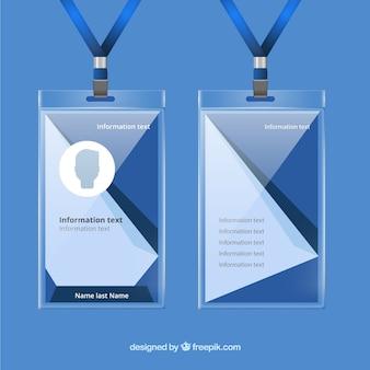 Cartão de identificação realista com suporte de plástico