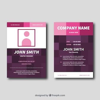 Cartão de identificação rosa