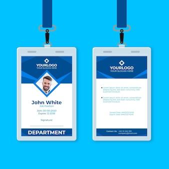Cartão de identificação vertical abstrato azul