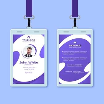 Cartão de identificação vertical frontal e traseiro