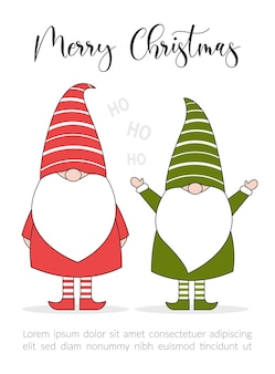 Cartão de ilustração de feliz natal com duendes.
