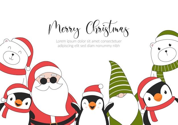 Cartão de ilustração de feliz natal com ursos polares, pinguins, elfos e papai noel.