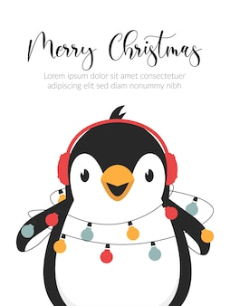 Cartão de ilustração de feliz natal. personagem de pinguim fofo.