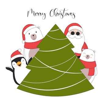 Cartão de ilustração de feliz natal. personagens fofinhos de natal.