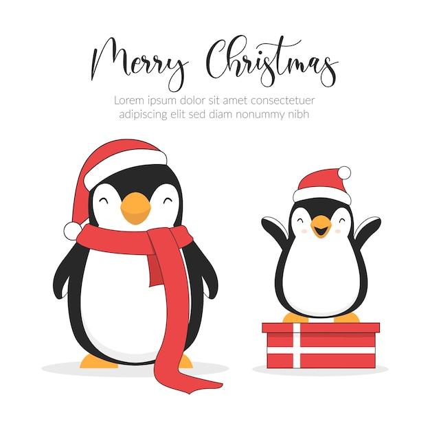 Cartão de ilustração de feliz natal. personagens fofinhos de pinguins.