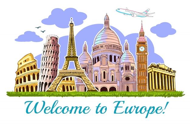 Cartão de ilustração de viagens de edifícios da europa