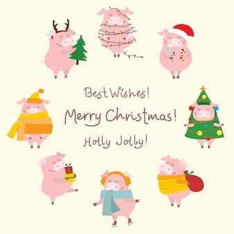 Cartão de ilustração vetorial com o símbolo do ano - porco amarelo com presentes de natal e saudação de natal engraçada desenhada à mão