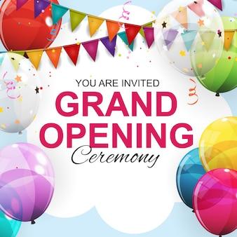 Cartão de inauguração com balões