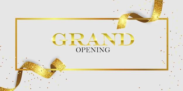 Cartão de inauguração com fitas douradas
