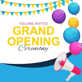 Cartão de inauguração com megafone e balão