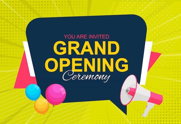 Cartão de inauguração com megafone e balão.