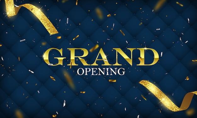 Cartão de inauguração com modelo de quadro de glitter dourado fundo fita.
