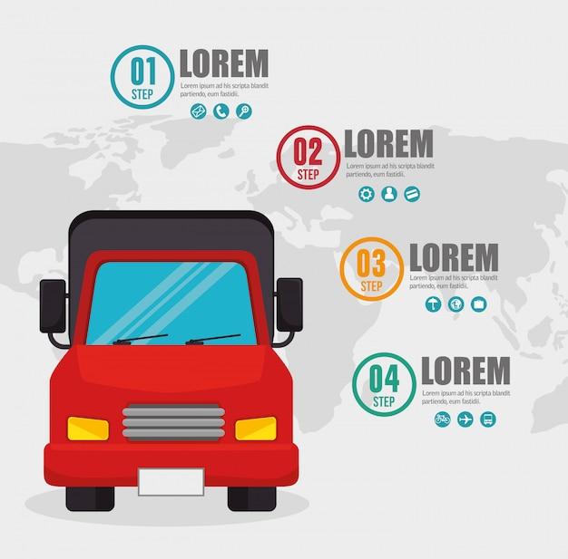 Cartão de infográfico de transporte de caminhão