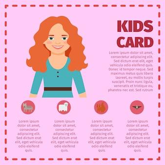 Cartão de infográfico jovem garota de cabelo vermelho