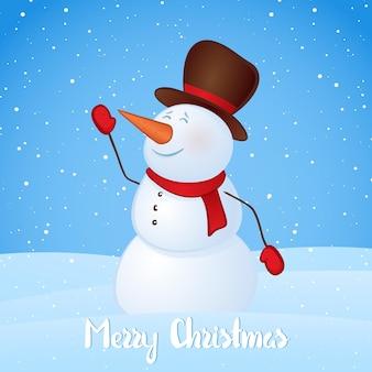 Cartão de inverno com boneco de neve em fundo de colinas nevadas. feliz natal.